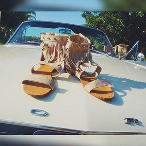Fringe tan faux suede ankle strap flat sandals